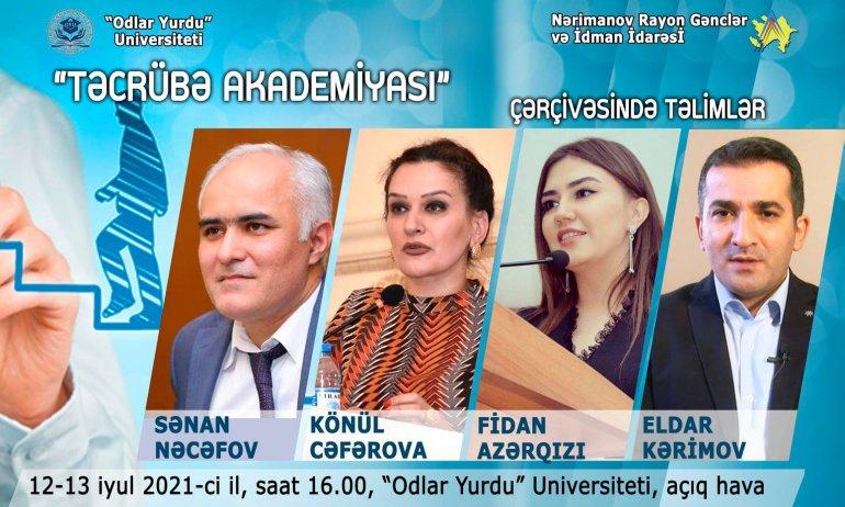 """Nərimanov rayonunda """"Təcrübə Akademiyası"""" çərçivəsində təlimlər keçiriləcək"""